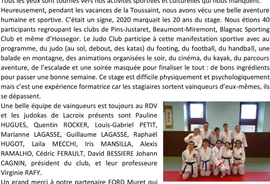 Nostalgie du 20ème stage de judo ...